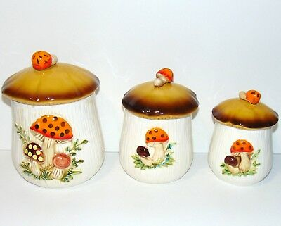 Vintage Merry Mushroom Cookie Jar Flour Canister 1970's Kitchen Sears 3 sizes