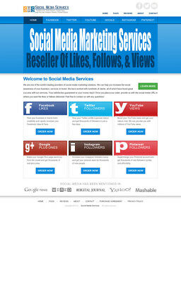 Social Media Services Reseller Turnkey Website - 100% Outsourced