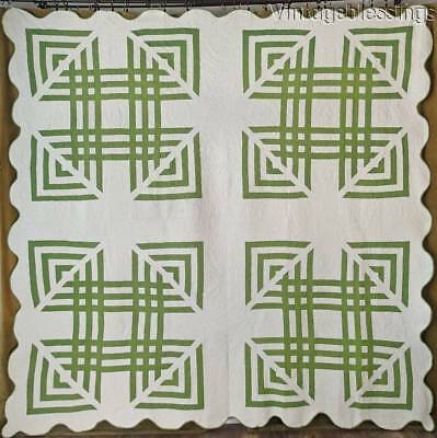 "SPARKLING Antique c1870 Green & White QUILT 88x87"" Exceptional Quilting"