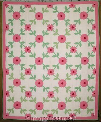 "Never Used! Gorgeous c1930 VINTAGE Roses Applique QUILT Heirloom Gift 85"" x 71"""