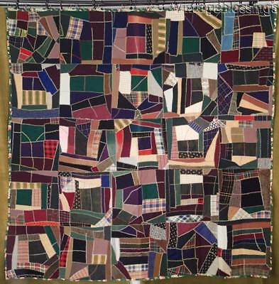 "Great Antique c1890 Victorian Crazy QUILT 78x76"" Floral Chintz Backing"