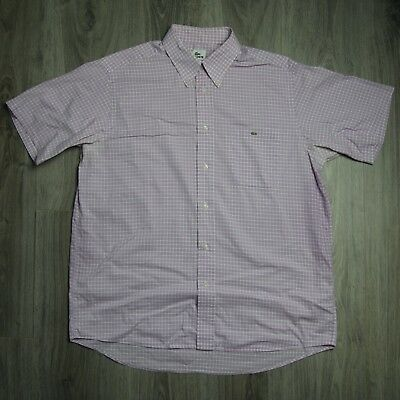 Vintage Mens Lacoste Short Sleeve Shirt Check Pink White 42 L XL Chemise Sport