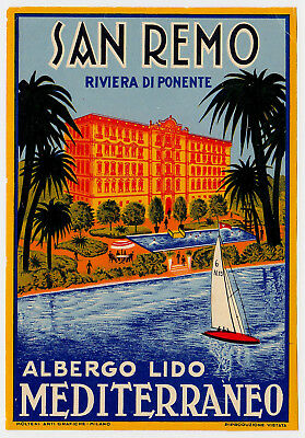Hotel Lido Mediterraneo SAN REMO Italy * Old Luggage Label Kofferaufkleber