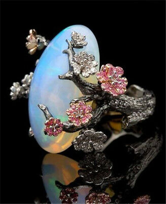 925 Silver Ring Women Jewelry Wedding Fire Opal Plum Flower Party Size 5-10