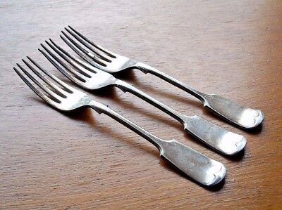 3 x James Dixon & Sons Small Fiddle Forks DIXON with Trumpet & Banner TM