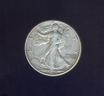Extremely Fine 1942-P  Walking Liberty Silver Half Dollar, Free USA Shipping