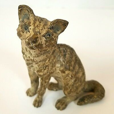 Vintage or Antique Vienna Bronze Cat Cold Painted Solid Statuette Figurine