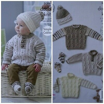 f079e168a43 Baby KNITTING PATTERN Baby 3 style Cable Jumpers Socks   Bobble Hat DK KC  5086