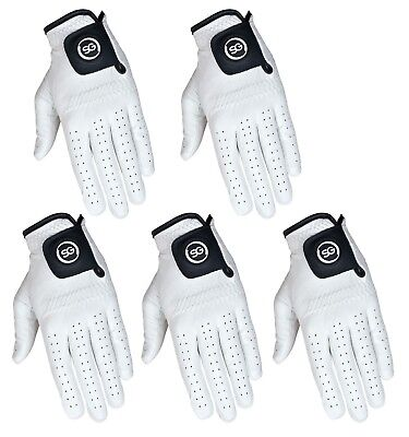 SG Pack of 5 White Cabretta Leather Golf gloves 4 Men and Ladies premium quality