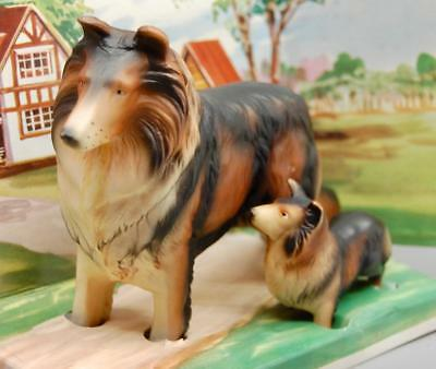 RARE VINTAGE 1960s CELLULOID PLASTIC CHAMPION COLLIE AND PUPPY IN ORIGINAL BOX