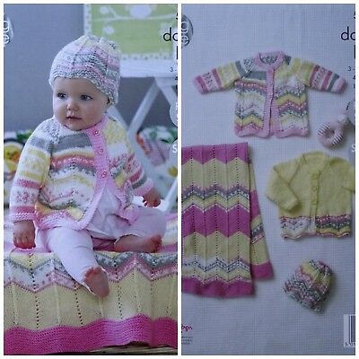 Baby KNITTING PATTERN Easy Lace Blanket Cardigan Coat & Hat DK King Cole 5083