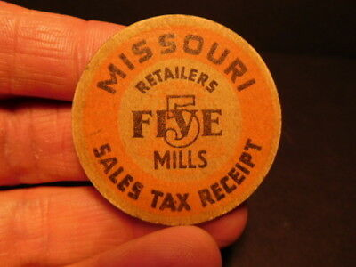 Vintage Missouri Sales Tax Receipt Five 5 Mills Retailers Token
