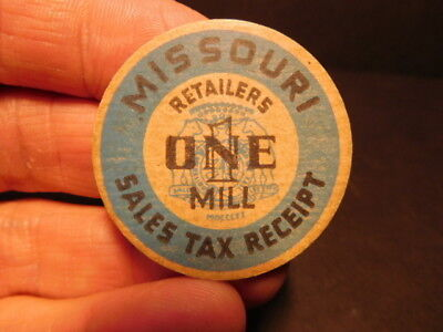 Vintage Missouri Sales Tax Receipt One 1 Mills Retailers Token
