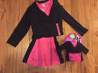 Dollie and Me Girls 2 Piece Dress/jacket Outfit wMatching Doll Outfit NWT Sz 8