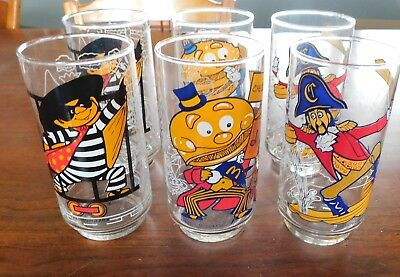 SET OF 6 VINTAGE MCDONALDS CHARACTER GLASSES 1977 Action Series
