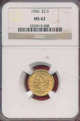 1906 Gold $2.50 Liberty Head Quarter Eagle **ngc Certified Ms 62** Nice Gold!