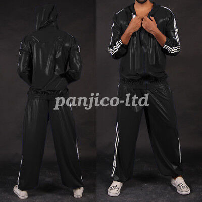 Natürlich Latex Rubber Fashion Handsome Hoodies Coat and Pants Suit Size XXS~XXL