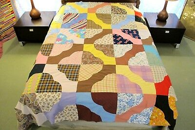 """GRAPHIC Vintage All Cotton Machine Sewn HEARTS & GIZZARDS Quilt TOP; 90"""" x 75"""""""