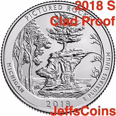 2018 S Pictured Rocks Lakeshore MI Park Quarter CLAD PROOF ATB U.S.Mint Low Cost
