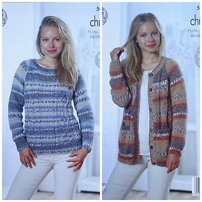 Knitting Pattern Ladies Long Sleeve Cable Cardigan And Jumper Chunky