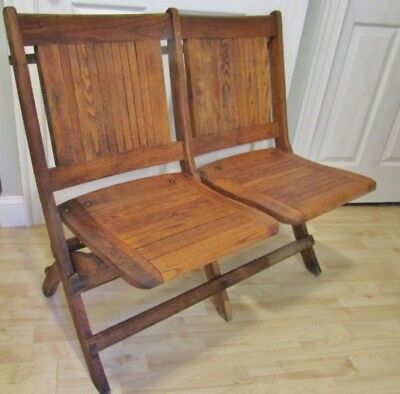Antique Solid Oak Double Church Chairs .beautiful, Made In Vermont.nice Bench!
