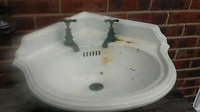 ANTIQUE EDWARDIAN     CORNER HAND BASIN WITH period TAPS