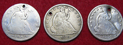 Original Silver Seated Liberty Halves, Holed, Great for Beading Projects