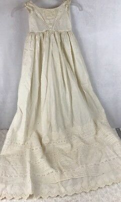 "Antique Child's Baby Vintage Christening Gown Dress Victorian Over 48"" Long"