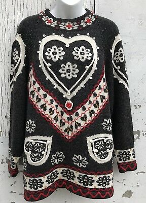 Vintage Sweater Ugly Christmas Style Hearts Colourful Jaguar Brand Size Medium