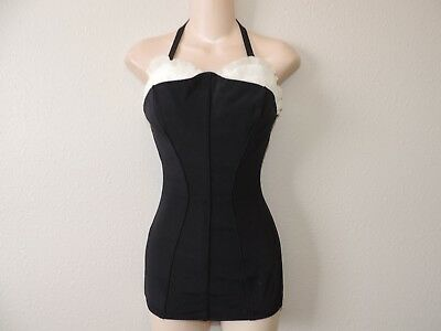 Vintage 1950s Catalina Swimsuit Black and White Ruffle Bodice Bathing Suit Small