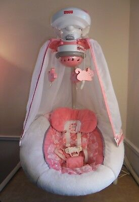 FISHER PRICE CRADLE 'N SWING Baby Girl Coral Pink Floral Toys Music Plug In