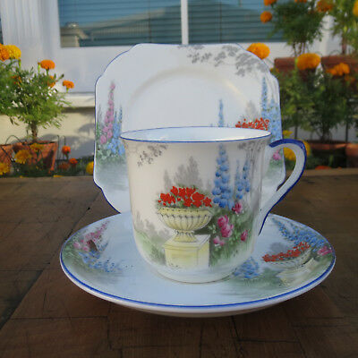 Shelley Tea Trio, Cup Saucer, Vincent 11614, Blue, Garden Scene Bluebells #SE705