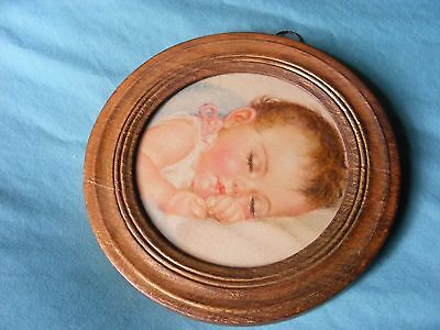 Vintage /Antique round framed Picture of a Sleeping Baby