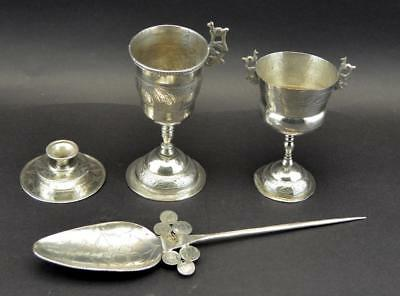 Lot Of 4 Peruvian Silver Objects