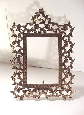 "Vintage Victorian / Art Nouveau Brass Plated Iron Ornate Picture Frame 16+"" tall"
