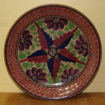 """Antique Beautiful Large Stick Spatter Spatterware Charger, 13"""" Dia., 19th C."""