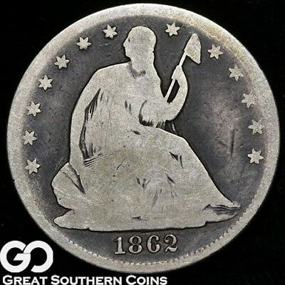 1862 Seated Liberty Half Dollar, Scarce Early Silver Half Dollar Date
