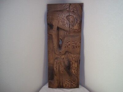 Vintage Northwest Coast Wall Hanging Wood Carving Relief Inuit Alaska Canada