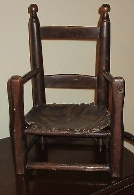 18thC Antique Child's Ladder Back Southern (?) Arm Chair - Original Leather Seat