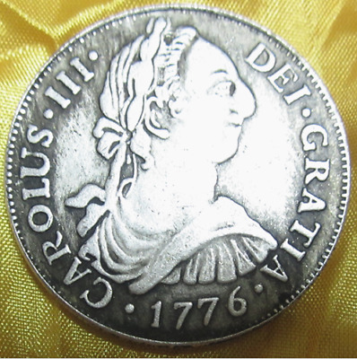 Copper core Spanish Carlos III double column silver coin 1776 years 38mm