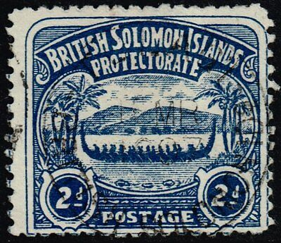 British Solomon Islands 1907 2d. canoe, used (SG#3)