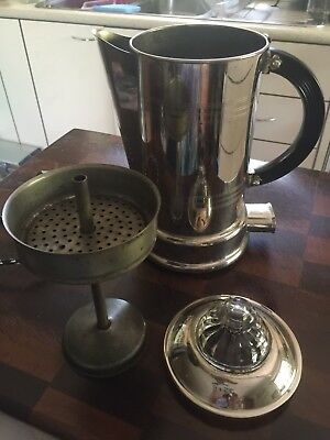 HECLA Vintage Electric Coffee Percolator Chrome Chord With Bakelite Plug Old