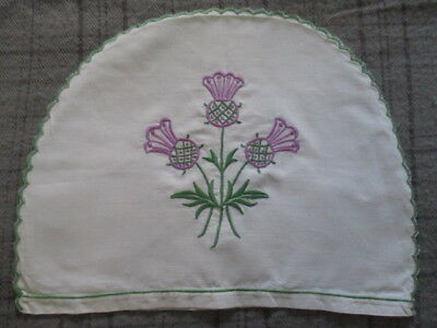 Vintage Retro Linen Toaster/Pot Cover with Machine Embroidered Purple Thistles.