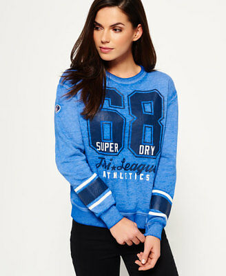 New Womens Superdry Tri League Relaxed Crew Sweatshirt Dazzle Blue