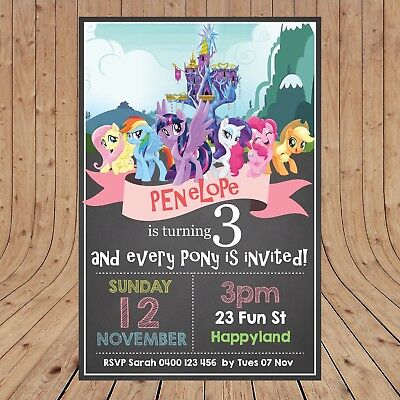 Personalised MY LITTLE PONY Kids Invites Party Invitations DIGITAL - YOU PRINT