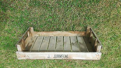 "Old Wooden Farm Box Marked J Johnson approx 30"" x 18"" x 6.5"" Collection PE7 Whit"
