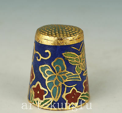 Chinese Cloisonne Collection Hand Carved Flower Statue Thimle