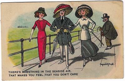 PC A 59 DONALD McGILL SOMETHING IN SEASIDE AIR ARTIST SIGNED COMIC HUMOUR 1913