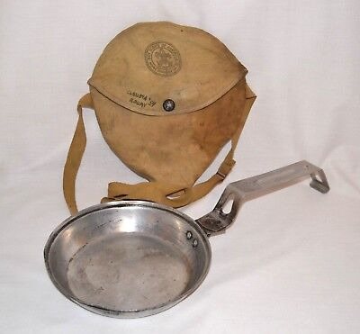 Vintage Boy Scouts Of America Metal Camping Cook Pan Skillet W/Case Dated 1954