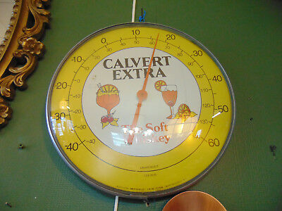 """ADVERTISING!  Calvert Extra The Soft Whiskey 12"""" Glass Face Thermometer"""